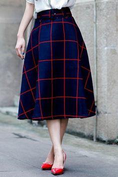 Plaid A-Line Midi Skirt $14.58