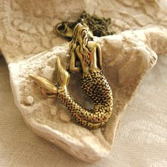 Mermaid Necklace antique brass vintage by TheQueensDowry on Etsy