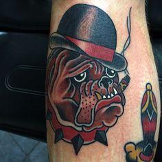 Traditional British Bulldog Tattoo by Charlie Coppolo #lowtidetattoo #southendonsea #essex #charliecoppolo #traditionaltattoo #tattoo #bulldogtattoo #britishbulldog