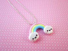 Encontre esto: 'Rainbow Polymer Clay Kawaii Necklace Pendant' en Wish, ¡échale un ojo!