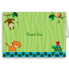 Rainforest Jungle Animal Thank You Note Cards