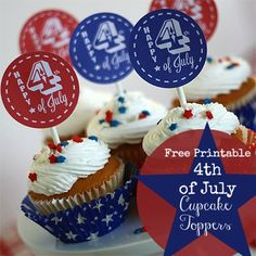 Free Printable Fourth of July Cupcake Toppers