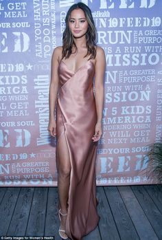 JAMIE CHUNG in a blush-toned Michelle Mason silk slip dress with a thigh-high slit, plus white Stuart Weitzman sandals at the Women's Health Party Under the Stars event in Bridgehampton, New York Celebrity Red Carpet, Celebrity Look, Celebrity Dresses, Slep Dress, Beautiful Dresses, Nice Dresses, Beautiful Clothes, Satin Rose, Pink Satin