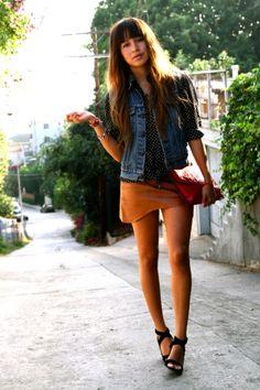 assimetric leather skirt