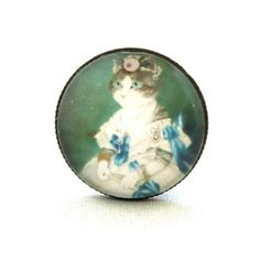 10 SALE  Ring Funny Cat Queen in Green Blue by timegemstone, £6.99