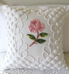 One Rose...vintage chenille pillow cover