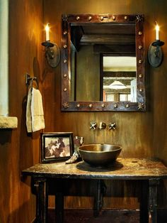 Rustic, western bathroom at the 4 Lazy J ranch. | Stylish Western Home Decorating
