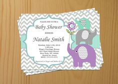 Elephant Baby Shower Invitation Gender Neutral Baby Shower Invites Baby Shower Invitations Editable File -FREE Thank You card (12) download by diymyparty on Etsy
