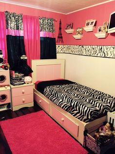 "My 8 year old daughter's new ""tween"" pink and zebra room!"
