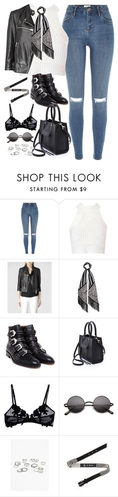 """""""Untitled#4536"""" by fashionnfacts ❤ liked on Polyvore featuring River Island, Glamorous, AllSaints, Rockins, Givenchy, Rebecca Minkoff, La Perla, Free People and McQ by Alexander McQueen"""