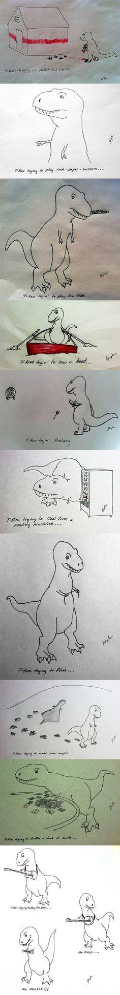 T-rex qui essaye des choses