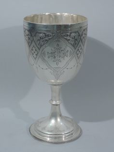 Very Large English Sterling Silver Ceremonial Goblet 1850