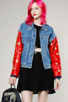 Vintage 80s Jean Jacket with Leather Studded Sleeves #studded #leather #80s #vintage