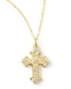 Byzantine Cross Necklace, Yellow Gold