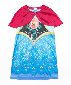 Look at this Blue & Black Frozen Anna Nightgown & Cape - Toddler & Girls on #zulily today!