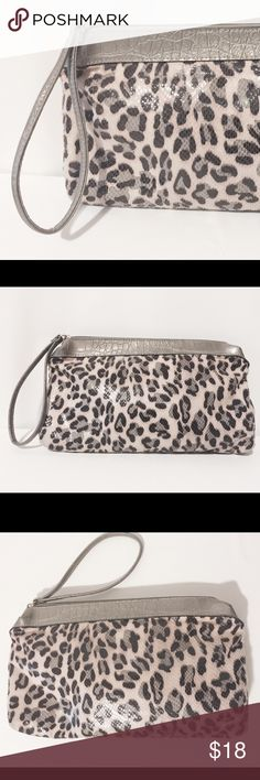 "⚜ Animal Print Clutch Versatile and cute! Soft clutch/wristlet. Coated synthetic animal print with grey faux croc trim. Zipper closure with 8"" strap. Fully lined   100% poly  100% poly lining  Machine washable   8"" H X  12 1/2"" L X 1 1/2"" W Bags Clutches & Wristlets"