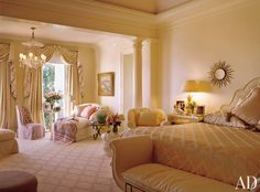 Bedroom by Mario Buatta and Jeffery W. Smith in Biscayne Bay, Florida