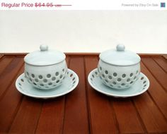 15% OFF SALE Set of Two Korean Porcelain Celadon Tea Cups with Lids and Saucers Signed by LotusInTheWind on Etsy https://www.etsy.com/listing/216015049/15-off-sale-set-of-two-korean-porcelain