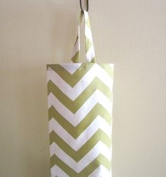Plastic Grocery Bag Holder, Storage- Cute Green Chevron Stripes