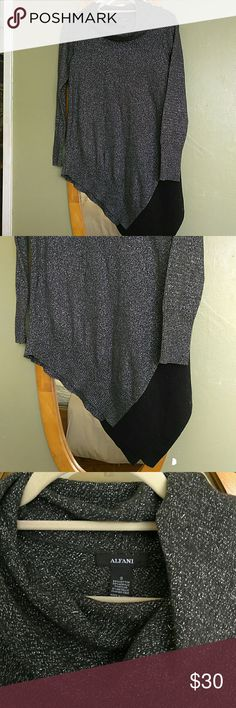 Alfani sweater Vowel neck silver and black sweater, great with leggings. Alfani Sweaters Cowl & Turtlenecks