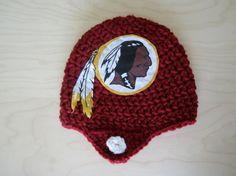 Crochet Washington Redskins Helmet Hat by JustForBabyWithLove, $16.00