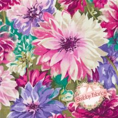 """Hanover Square 837-5 by Fabric Freedom: Hanover Square is a beautiful collection by Fabric Freedom.  100% cotton, 43""""/44"""" wide.  This fabric features multicolored mums in a watercolor design."""