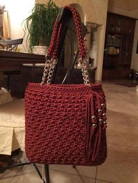 """New Cheap Bags. The location where building and construction meets style, beaded crochet is the act of using beads to decorate crocheted products. """"Crochet"""" is derived fro Crotchet Bags, Crochet Tote, Crochet Handbags, Crochet Purses, Knitted Bags, Hand Crochet, Beaded Crochet, Diy Bags Purses, Yarn Bag"""
