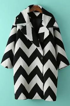 Zig Zag Pattern Lapel Long Sleeve Coat