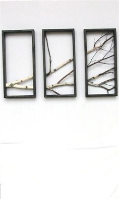 Branch + Pic Frames = cool wall hanging