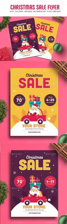Christmas Sale Flyer by guper Guuver presents Christmas celebration flyer, with cute illustration to promote your store or event this flyer made for your speci