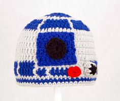R2D2 Hat from Star Wars Grey and Royal Blue Crochet by GeekinOut, $25.00