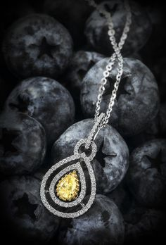 Fancy #Yellow #Pear Shape #Diamond #Pendant with #Brilliant #Round Accents set in 14K #White & #Yellow #Gold Setting #wedding #engagement #jewelry #pendant #fruits