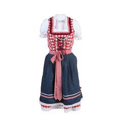 """(rot/blau/weiß) Damen Dirndl-Set """"Tine"""" mit Bluse und Schürze - klassisches Dirndl-Set im modischen Vichi-Karo von Brandl Tracht, mit verdecktem Reißverschluss an der linken Seite, Ausschnitt mit angesetzten Rüschche"""