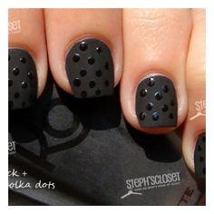 Beauty / Black matte nail polish with Polka dot design found on Polyvore
