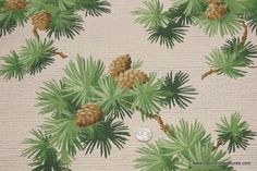 1940's Vintage Wallpaper Pinecones and Pine by HannahsTreasures