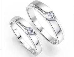 Inexpensive His and Her Couples Wedding Ring Bands with CZ on Silver Size 6 for Deb <3 Sale