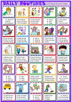 Daily routines, new multiple choice activity