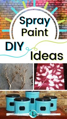 Easy spray paint projects that will help you up cycle old items into useful or beautiful home decor. You'll be proud to show off your recycled and refurbished spray paint diy projects. Find inspiring ideas on Listotic for using spray paint. Spray Paint Crafts, Spray Paint Projects, Diy Craft Projects, Craft Ideas, Decor Ideas, Easy Diy Crafts, Fun Crafts, Paint Cans, Spray Painting