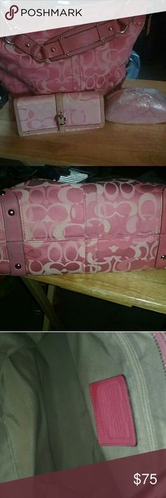 Coach Pink Purse,Wallet and Sunglass set. Pink Coach shoulder bag with matching wallet. The sunglass case is not coach but it is brand new still in the package. Coach Bags Shoulder Bags
