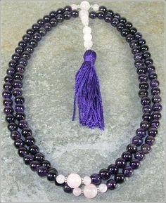 8mm Amethyst & Rose Quartz Buddhist Mala Prayer Beads - 108 Beads $47.95