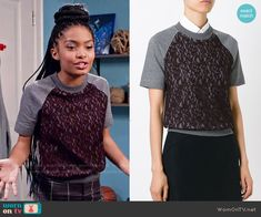 Zoey's purple lace front top on Black-ish.  Outfit Details: https://wornontv.net/55268/ #Blackish