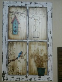 Trendy House Old Vintage Window Frames pane ideas decoration Trendy House Old Vintage Window Frames Old Window Art, Window Frame Art, Old Window Crafts, Old Window Decor, Old Window Projects, Window Frame Ideas, Diy Projects, Old Windows Painted, Antique Windows