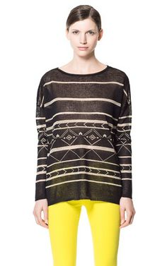 Image 2 of GEOMETRIC PRINT SWEATER from Zara