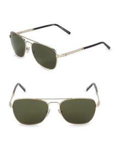 d9fea8a7f4 MONTBLANC Goldtone 56MM Square Sunglasses.  montblanc. ModeSens Men