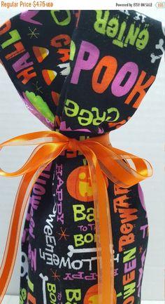 ON SALE Wine Bottle Gift Bag Halloween Spooky Enter by MakeMeOver