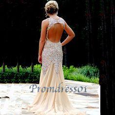 Champange handmade beaded floor-length prom dress