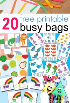 20 free printable busy bags for kids that you can put together in less than 10 minutes! Just print and play! These free printable busy bags are super simple to make--just print and play! Perfect for travel or as quiet time activities. Quiet Time Activities, Infant Activities, Preschool Activities, Educational Activities, Summer Activities, Activities For 3 Year Olds, Printable Activities For Kids, Preschool Printables, Indoor Activities