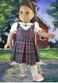 Green Hair Ribbons Only American Girl Molly School Plaid Jumper /& Blouse Set