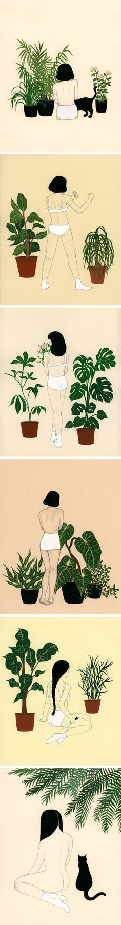 Dan-ah Kim's Illustrations are perfect! Plants, pants and cats - my favourites - funny :D