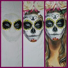 WhiteSkull handpainted Halloween Face Makeup, Hand Painted